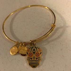 Alex and Ani Calavera gold  skull charm bracelet